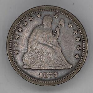 1877 S SEATED LIBERTY QUARTER 25C SILVER VF VERY FINE (3019)