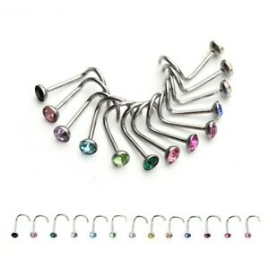 20pcs/lot Nose Rings Stainless Steel Studs Hooks Body Piercing Rhinestone Jewelr