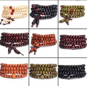 Men's Bracelet Necklace Natural Sandalwood Buddha Wood Bead Fashion Jewelry 80