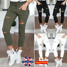 Womens Ladies Stretch Faded Ripped Slim Fitted Skinny Pants Jegging UK 6 8 12 14