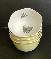 4 LENOX BLUE BUTTERFLY MEADOW YELLOW WHITE DESSERT SAUCE BOWLS BEES LADYBUG NEW
