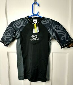 Optimum Junior Sports Razor Rugby Top Boys Size Large Black / Silver Padded NEW