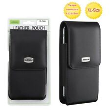 Samsung Galaxy A21 / A51 Black Vertical Leather Pouch Case Belt Clip Holster