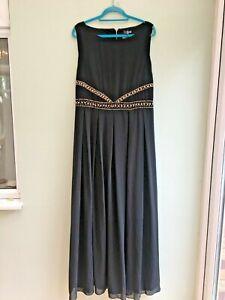 DRESS MAXI 22/24 BY LOVEDROBE GRECIAN STYLE PLEATING & EMBELLISHED BLACK BNWT