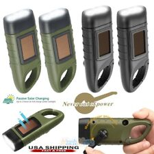 2 Pack Hand Crank / Solar Powered Rechargeable LED Flashlight Survival LED Torch