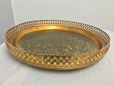 Antique Look Gold Colored Metal Flower &leaves Painting Platter/Tray/Dish holder