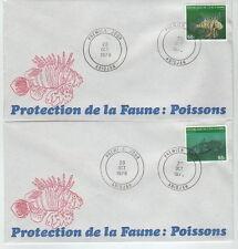 FDC Lot de 2 enveloppes Protection de la Faune Poissons  Rare