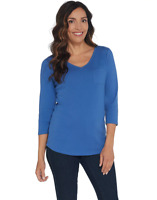 Denim & Co Medium Essentials Modern Fit Knit Top w/ Pocket Detail Seaport Blue M