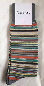Paul Smith Men Sock Multi Stripe Made In England Grey