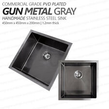 450mm Square GUN METAL GRAY Premium PVD 304 Stainless Steel Laundry/Kitchen Sink