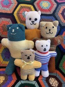 Bulk Lot Of 5 Soft Cuddly Hand Knitted Teddy Bears Family 18cm - 38cm