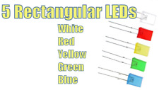 5 Rectangular Square LEDs Red, White, Blue, Green & Yellow. 2mm x 5mm x 7mm
