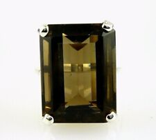 Very Large Smokey Topaz Emerald Cut Ring .925 Sterling Silver 20x15 MM