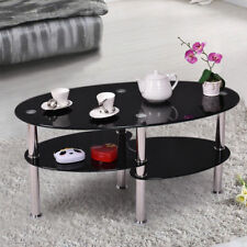 Coffee Side Tea Table Glass Oval 3 Shelf Design Black Chrome Legs Living Room UK