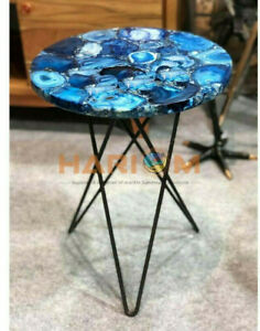 """18"""" Blue Agate Stone Designer Side Coffee Table Top Home Decorative Gifts A108"""
