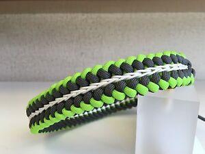 "Custom Made Grey/Neon Green Paracord Dog Collar 12""-18"" With Metal Buckle"
