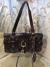Authentic Chloe Kerala Horse Shoe Charm Logo Hand Bag Leather Brown Romania NICE