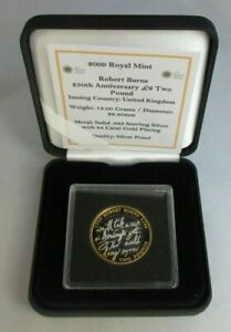 2009 £2 ROBERT BURNS 250TH ANNIVERSARY SILVER PROOF TWO POUND COIN BOXED
