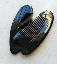 12-13cm QiaoYaTou Nice 100% Natural Black Ox Horn Fine-toothed Health Care Comb