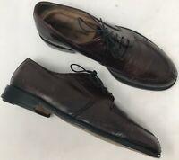 Mens Pronto Uomo Brown Leather Oxfords sz 8.5 M Split Toe Lace Up Shoes