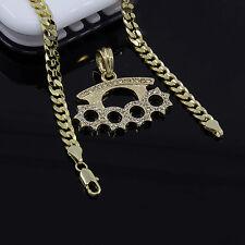 """Mens Gold Plated Cz Knuckle Duster Pendant 24"""" Cuban Chain Hip-Hop Necklace D600"""