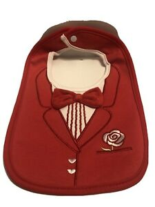 Baby Tuxedo Bib Red with Bow Tie And Rose Flower Wedding A23