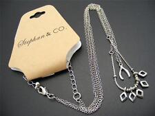 "$12 Stephan & Co Wishbone & Diamond Charm Pendant Necklace Silvertone Chains 20"""