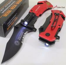TAC-FORCE Fire Fighter Rescue LED Light Bowie Style Spring Assisted Pocket Knife