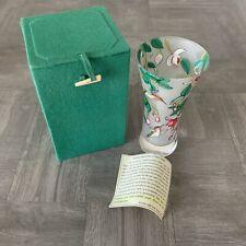 Handpainted ART GLASS HUMMINGBIRD & Flowers VASE Bill Yee & Associates