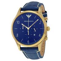 Emporio Armani Chronograph Blue Dial Blue Leather Mens  Watch AR1862