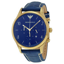 Emporio Armani Chronograph Blue Dial Blue Leather Mens  Watch AR1862