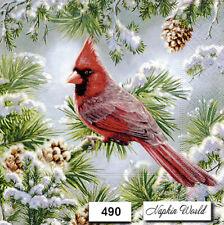 (490) TWO Individual Paper LUNCHEON Decoupage Napkins  CARDINAL BIRD WINTER SNOW