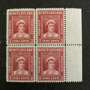 Newfoundland Stamps #255i Broken A in Block Mint Never Hinged