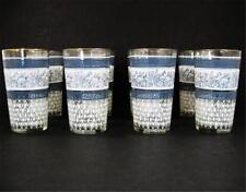 Jeannette Patrician Greek Key Set of 8 11oz Flat Glass Tumblers Gold Rim