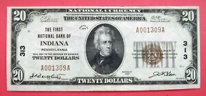 INDIANA, PA, FIRST NATIONAL BANK, $20 NATIONAL CURRENCY, SMALL SIZE,1929, NICE