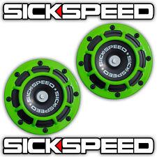 SICKSPEED 2PC LIME GREEN SUPER LOUD ELECTRIC BLAST TONE HORN CAR/TRUCK 12V P5