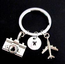 Initial airplane keychain, camera Keychain ,airplane keyring best friend jewelry