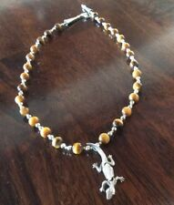 Articulated Silver Lizard And Tigers Eye Necklace