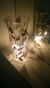 Tall ART glass Vase & Candle Holder dinner TEA light FLOWERS