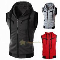 Men Sport Hoodie Sleeveless Zipper Jacket Vest Waistcoat Tops Hooded Coat Gift