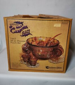 Indiana Glass Gold Carnival Harvest Princess Punch Bowl - Cups & Ladle - Boxed