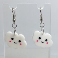 White Cute Happy Cloud Charms Acrylic Earrings F141  Kitsch 4.2cm