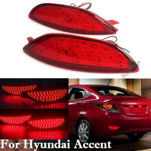 2X LED Rear Bumper Reflector Brake Light Lamp For Hyundai Accent Verna 2008-2015