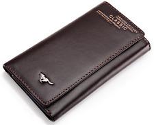 SEPTWOLVES Men Genuine leather Wallet Key Case Holder Purse Trifold brown New