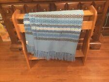 Vtg Hand Woven Crossnore School Inc. Weavers Blue/ /Brown Throw Blanket 40 X 70