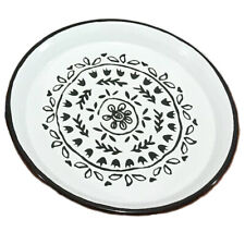 Chic Enamel Plate Featuring Black Floral Print, Suitable as Diningware & Display