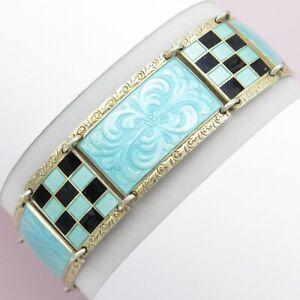 Vintage 1920s 1930s H Ostrem Double Sided Light Aqua Blue C Vermeil Gold Plated Antique Norway Sterling Guilloche Enamel Cufflinks