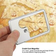 Credit Card Magnifier With LED Light Square Magnifier 3X 6X + Leather Case