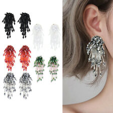 Fashion Womens Crystal Beaded Earrings Long Tassel Drop Dangle Ear Stud Jewelry