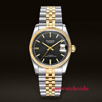 36mm PARNIS black dial Sapphire glass 21 jewels Miyota automatic mens watch P389